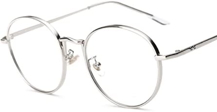 NF&E Mens Women Use Lightweight Durable Oversized Classic Vintage Retro Style Round Clear Lens Optical Eyeglasses Frame Silver