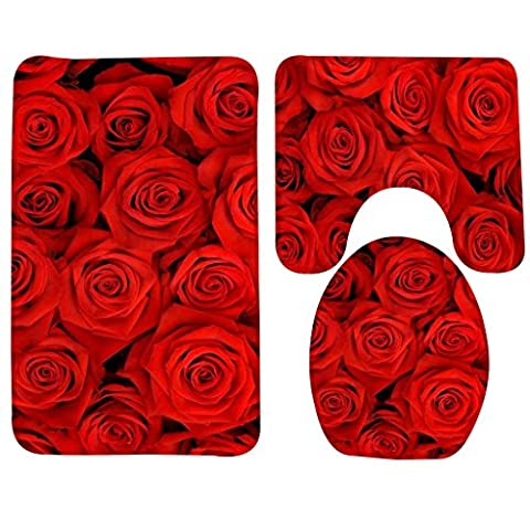 YOOSANG Bath Mat,Rose,Red Rose Flowers Bathroom Carpet Rug,Non-Slip 3 Piece Bathroom Mat Set