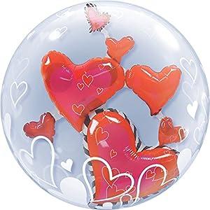 Qualatex 68808 - Globo de burbuja doble de corazones flotantes de 61 cm