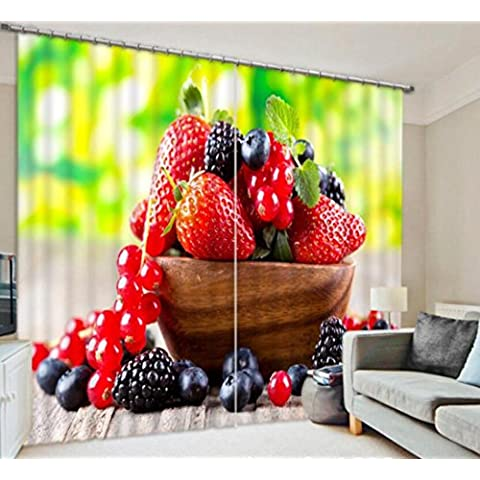 3D camera da letto finestra decorata ombreggiatura tende di lino caldo fragola frutta frutta ciotola finito , wide 2.64x high 2.41