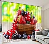 H&M Gardinen Vorhang Erdbeere Obst Obstschale dekoriert Schlafzimmerfenster Shading warme Leinenvorhänge fertig 3D, Wide 2.64x high 1.6