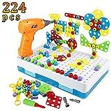 yoptote Mosaique Puzzle Enfant 3D Perceuse Electrique Outils Enfant Électrique Jeu Construction 4 et 1 Boite Outils Enfant Blocs de Construction Puzzle 224 Pieces Mosaique Enfant 3 Ans +