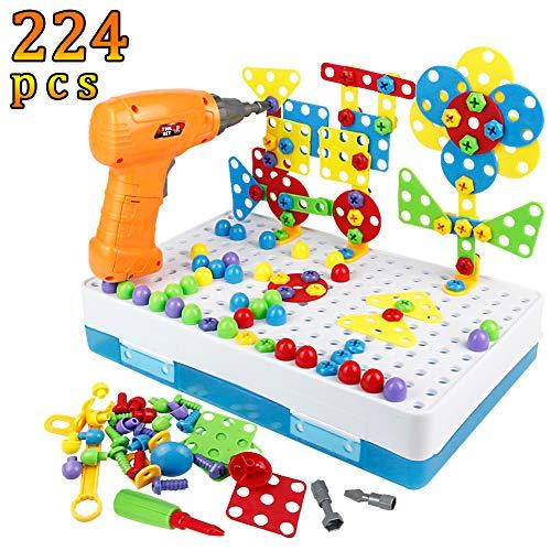 Bau Spielzeug Pegboard Puzzle zum Selberbauen von Eigenen Moasik-Set zum Selberbasteln, Modell-Kits, Bausteine, Spielwerkzeug für Kinder Mädchen Jungen 3 4 5 Jahre alt (Bau-spielzeug Für Kinder)