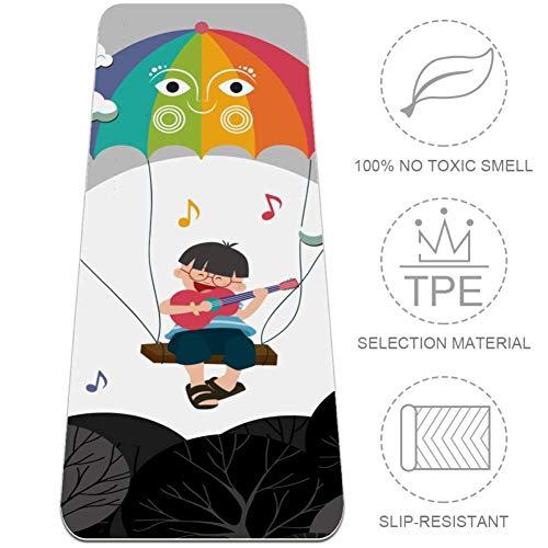 MUOOUM Dreaming Singing Kinder Bunte Regenschirm-Yogamatte, 6 mm dick, rutschfest, umweltfreundlich, ungiftig, reißfest, 182,9 cm, extra lang