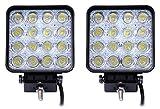 Leetop 2X Arbeitsscheinwerfer LED 12V 48W Scheinwerfer 30°Spotstrahl Auto Arbeitslicht LED Zusatzscheinwerfer (2X 48W(60 Grad))