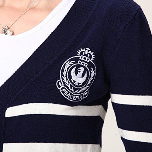 LOCOMO femme Motif à rayures Bleu/blanc à rayures FFJ009BLU Cardigan à manches longues Bleu - Bleu