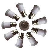 DZYDZR 10 PCS B22 auf E27 E26 Lichtsockel Adapter Konverter Basis, passt LED/CFL Glühbirnen, hitzebeständig, Anti-Brennen, keine Brandgefahr