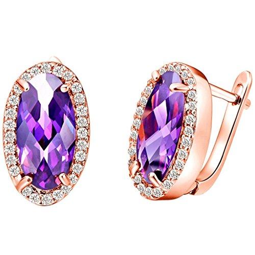 KnSam Donne Placcato Oro Rosa Orecchini a Perno Forato Ovale Specchio Viola Cristallo [Novità Orecchini] - Coccinella Specchio
