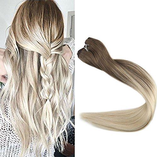 Full Shine 22 Zoll Ombre Brasilianisch Glatt Haare Weaving Extensions Farbe # 8 Verblassen auf # 60 Platinblond 100Gramm/Bundel Remy Tressen Echthaar