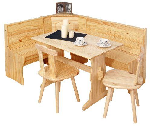 Inter Link Coin Repas avec banc d'angle / table - chaises - banc Pin massif vernis naturel