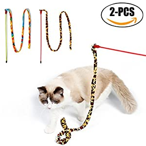 Chat Teaser, Legendog 2PCS Interactive Cat Wands Cat BâTon Jouets Avec Bell Pour Chat Chaton