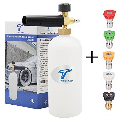 Twinkle Star Cannon 1L Flasche Snow Foam Lance mit 1/4Quick Connector, 5Spray Düse Tipps für Hochdruckreiniger - 33oz-wasser-flasche