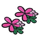 Baoblaze 2pcs Pailletten Blumen Aufnäher Stickerei Patches Flicken Applikation DIY - Rose Rot, 119 x 110 mm