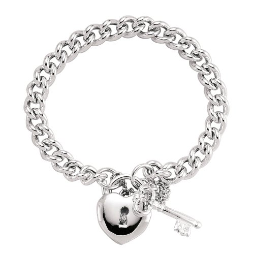Jewelco London Rhodium Plated Sterling Silver Heart Padlock Charm Bracelet