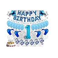 Scene Layout Set 1st Birthday Decoration Children's Boys And Girls Party Decoration Balloon Theme Background Wall Package,banner, Confetti Balloons, Number One Cake Topper Blue