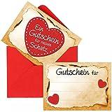 Romantische Gutscheine 'Für meinen Schatz' - Ein süßes Geschenk zum Valentinstag, Geburtstag oder Jahrestag, inkl. roten Umschlägen (12 x zum selber Ausfüllen)