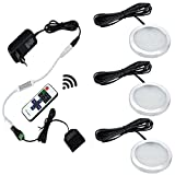 Aiboo LED-Küche-Schrank-Beleuchtung Kit 3X2W 12V LED Puck Lichter mit RF Dimmbare und EU-Stecker für Küchenbeleuchtung Bücherregal Licht unter Gegenbeleuchtung Akzentbeleuchtung (warmweiß (3000K))