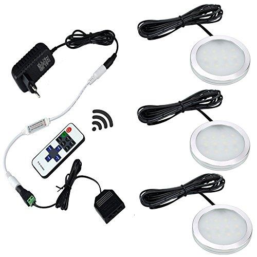 Aiboo LED-Küche-Schrank-Beleuchtung Kit 3X2W 12V LED Puck Lichter mit RF Dimmbare und EU-Stecker für Küchenbeleuchtung Bücherregal Licht unter Gegenbeleuchtung Akzentbeleuchtung