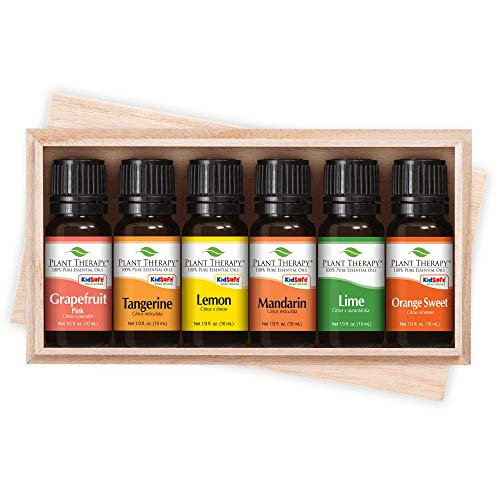 FRUITS- 6 Essential Oil Sampler Set. Includes 100% Pure, Undiluted, Therapeutic Grade Essential Oils of: Sweet Orange, Pink Grapefruit, Lime, Lemon, Tangerine & Mandarin. 10 ml each by Plant Therapy Essential Oils - Sweet Pink Grapefruit