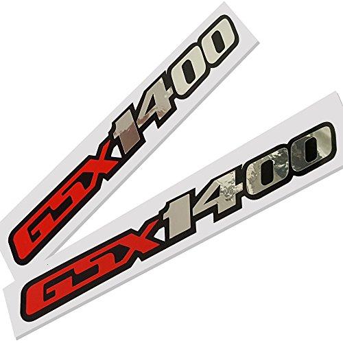 Preisvergleich Produktbild Suzuki GSX 1400Rot, Silber Chrom auf Schwarz Grafik Aufkleber Aufkleber X 2