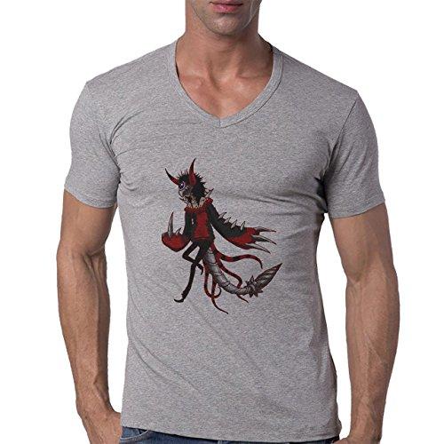 Digimon Agumon Greymon Wargreymon Wargreymon Metal Herren V-Neck T-Shirt Grau