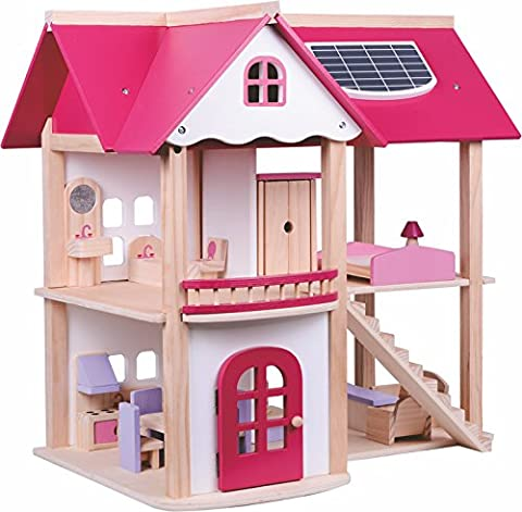 Wooden Toys Luxury Wooden Dolls House For Kids With Furniture And 7 Wooden Dolls- Large Pink
