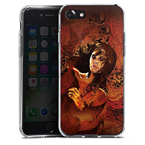 Apple iPhone X Silikon Hülle Case Schutzhülle Frau Gesicht Drache Silikon Case transparent