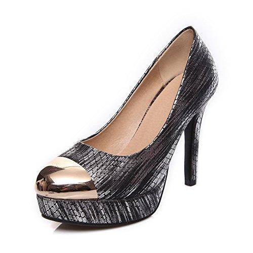 VogueZone009 Damen Rund Zehe Stiletto Gemischte Farbe Ziehen Auf Pumps Schuhe Schwarz