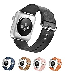 Mifa Apple Watch Classic Buckle Leather Band Leather Strap With Steel Clasp Replacement Band 38mm (Black)