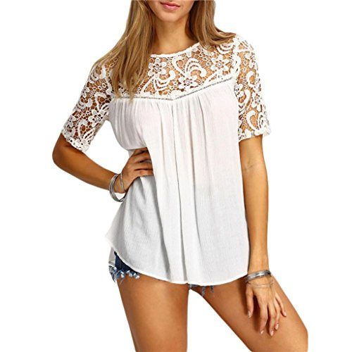 Sannysis Damen Sommer Tops Spitze Hohl Kurzarm Bluse T-Shirt (M, Weiß)