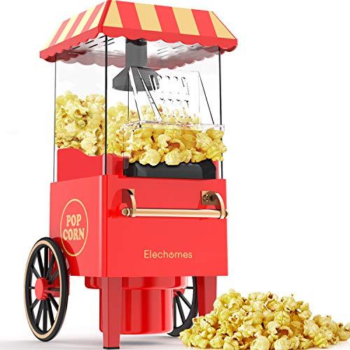 Popcorn Maschine,Elechomes 1200W Retro Edition Heissluft mit Temperaturregelung Überhitzungsschutz, Elektrische Popper mit abnehmbarem Deckel für zu Hause, Kein Öl benötigt frisches gesundes Popcorn