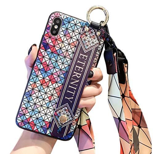 Schutzhülle für iPhone XS/X, Gothic-Stil, mit Handschlaufe, geprägt mit geometrischer Rückseite, stoßdämpfende Technologie, blau -