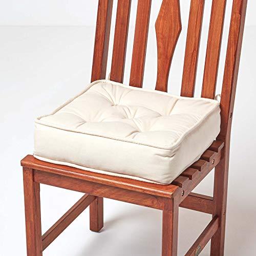HOMESCAPES orthopädisches Sitzkissen 40 x 40 x 10 cm - extra hoch, mit Bändern, Bezug aus 100% Baumwolle - Sitzerhöhung/Aufstehhilfe, Creme/Natur