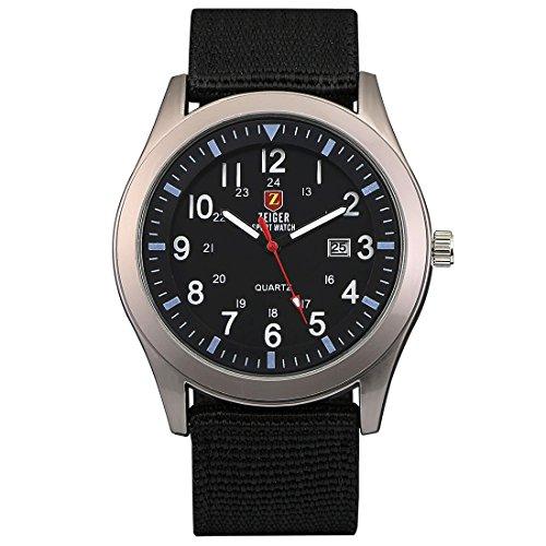 Orologi sportivi da uomo zeiger orologio militare da uomo orologi analogico impermeabile date nylon nero w285