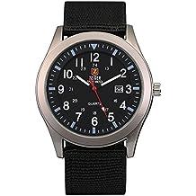 ZEIGER Militär Abenteuer Herren Uhr Schwarz Sport Analog Quarz Datum Armbanduhr W285