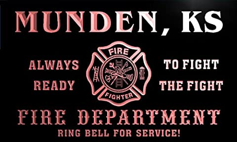 qy56395-r FIRE DEPT MUNDEN, KS KANSAS Firefighter Neon Sign