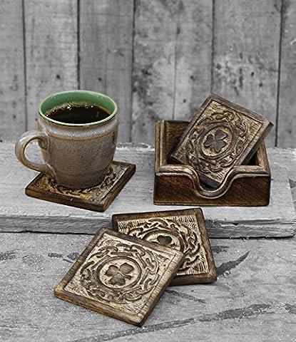 Set en bois faits à la main de 4 sous-verres carrés en Coupe Holder Pour boire un verre Tasse de thé Cuisine Barware Vaisselle Accessoires
