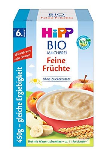 Hipp Bio-Milchbreie ohne Zuckerzusatz-Vorratspackung, ab 6. Monat, Feine Früchte, 4er Pack (4 x 450 g)
