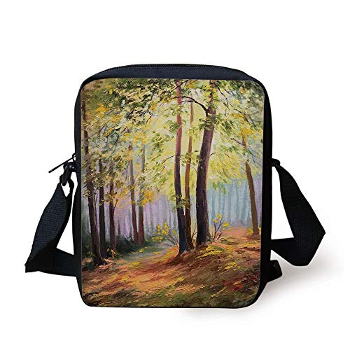 Country Decor,Image of Spring Landscape in The Forest with Falling Leaves and Various Trees Mod Print,Brown Green Print Kids Crossbody Messenger Bag Purse -