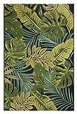 Luxor Living Design Teppich mit Blätter-Print | In- & Outdoor | Dschungel Style, Größe:80 x 150 cm, Farbe:Schwarz-Grün Kubana Test