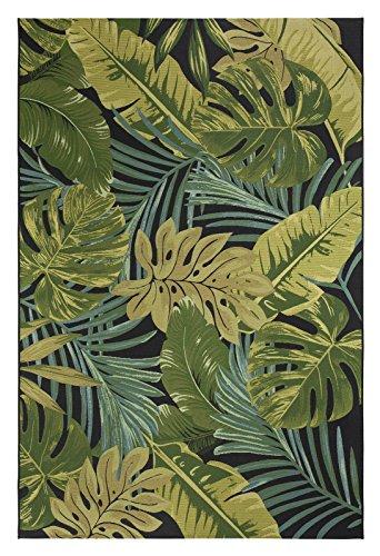 dschungel teppich Luxor Living Design Teppich mit Blätter-Print | In- & Outdoor | Dschungel Style, Größe:80 x 150 cm, Farbe:Schwarz-Grün Kubana
