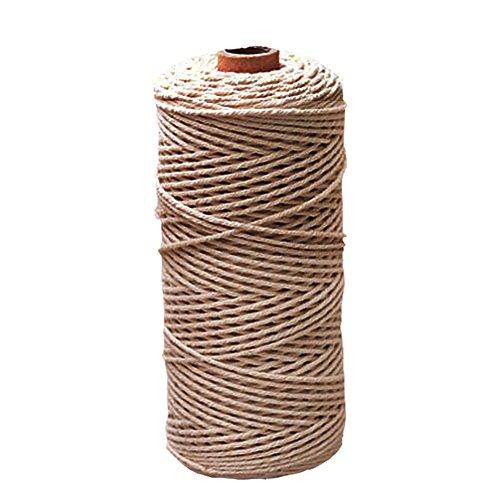 Natural hecho a mano algodón cordón hilo macramé cuerda DIY Planta de colgar en la pared para colgar Craft cadena para tejer, algodón, 2mm x 200m