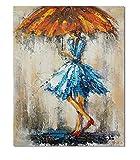 AYANGZ 100% handgemalte Ölgemälde - Moderne Abstrakte impressionistischen Art Deco Regenschirm Frau Kunst Malerei Home Decoration, 1 Stück, 23 * 47 Zoll,23 * 47inch
