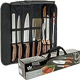 Hochwertiges Messer-Set 9-tlg. plus Tragetasche als Grillbesteck