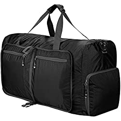 Sailnovo Leichter Faltbare 85L Reise-Gepäck Duffel Taschen weekender Übernachtung Taschen Sporttasche für Sport Reisen Gym Urlaub (Schwarz)