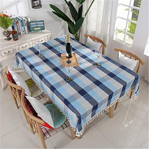 XYAZ Pastoralen Stil Tischdecke Baumwolle und Leinen Farbe passenden Gitter Tischdecke Restaurant wasserdicht und ölbeständig TischdeckeBlaugraues Plaid -