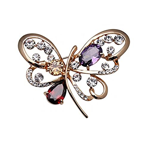 temps Usurier Mode Lovely Papillon Oxyde de Zirconium Luxe Charm Broche