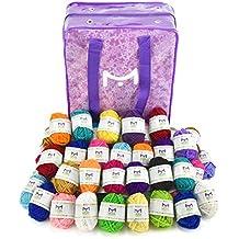 Artesanías Mira 60 ovillos de hilo para tejer - Hilados a granel para ganchillo - Hilo 100% acrílico madejas de colores variados - Bolsa de guardado con estilo incluida