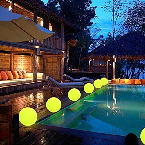 Jamicy LED-Licht Ball: 8 Zoll Cordless Night Lights Fernbedienung, Wiederaufladbare Pool Licht, RGB Farbwechsel Floating Orb, Dekorative Beleuchtung Ball