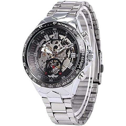 Winner Mens Steampunk de esqueleto Dial Automático Mecánico redondo de acero reloj de muñeca Color Plateado